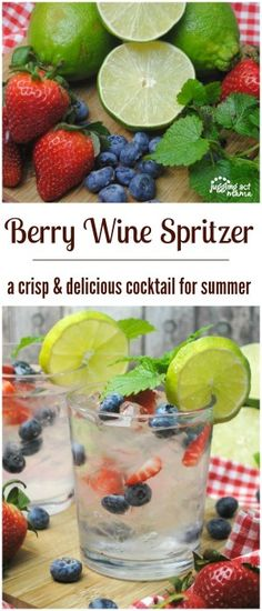 Berry Wine Spritzer - a crisp & delicious cocktail for summer