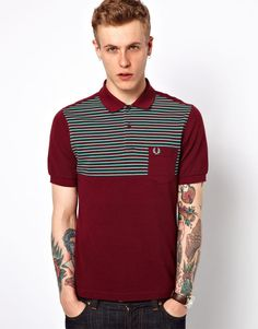 Fred Perry Polo with Fine Chest Stripe. Check for more burgundy at http://www.wantering.com/trends/burgundy/