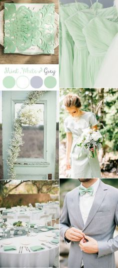 mint green, white and grey wedding colors and invitations