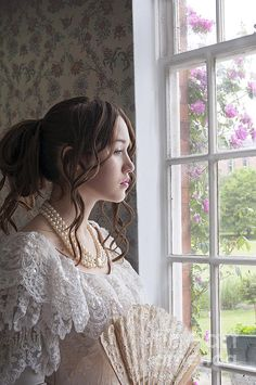 Victorian Woman Looking Out Of The Window Print By Lee Avison