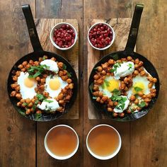 Instagram media symmetrybreakfast - Friday: Rose harissa chickpeas with egg, mint labneh a side of pomegranate seeds and a cup of tea #symmetrybreakfast ------------------------------ So who wants to adopt us? We prefer a sunny country . Willing to make breakfast everyday and do light house work