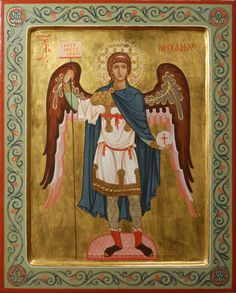 Commission contemporary christian Icon of saint archangel Michael