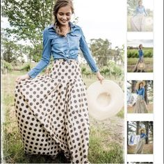 Maxi polka dot skirt-Waltzing Matilda NWOT. I bought this skirt last year and never wore it.  I'm 5'3 and the bottom touches the ground.  There is a tiny spot on the front-I'm not sure what from as I've never worn this. I'm still not 100% I want to sell so I'm firm on the price. Shabby Apple Skirts Maxi