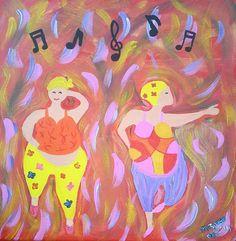 Swingende lady's op Canvas 30 bij 30