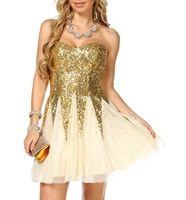 Alia- Cream/Gold Sequin Dress