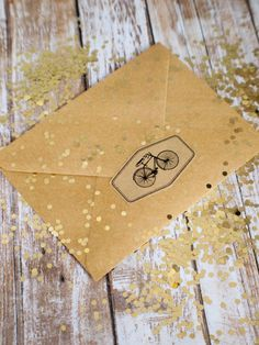 Bicycle sticker brown kraft with black ink 35mm by ctdscraftsupply
