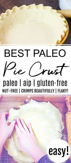 This easy to work with Paleo Pie Crust dough crimps beautifully and works well for summer or holiday pies. Enjoy grain-free flaky crust again! Paleo Pie Crust, Pie Crust Dough, Easy Pie Crust, Cassava Flour Pie Crust Recipe, Fudge Recipes, Paleo Recipes, Real Food Recipes, Paleo Food, Paleo Meals