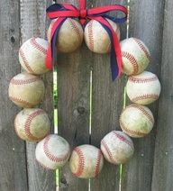 Is this a wreath a boy could dig, or what? ...not diggin the wreath idea but could definitely work as a frame border! Use pieces of different sport balls for an enlarged picture frame or a decor frame for a boys room!
