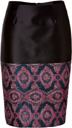 Pencil Skirt with Brocade Paneling