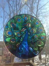 Peacock sun catcher, window decoration, stained glass