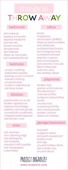 De-clutter list by room