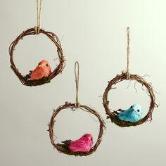 Mini Bird Wreaths, Set of 3 | World Market