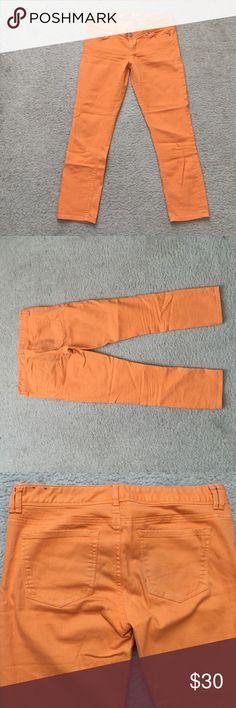Express crop jean legging orange Size 8 great condition crop pants orange Express Pants Leggings