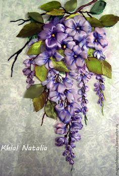 Купить Веточка глицинии - васильковый, лента, мулине, картина в подарок, сирень, сиреневый, цветы