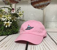 Vintage SPACE SHIP Baseball Cap Low Profile Dad Hats Baseball Hat Embroidery Pink by TheHatConnection on Etsy https://www.etsy.com/listing/286263757/vintage-space-ship-baseball-cap-low