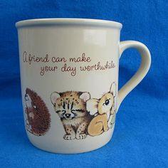 Hallmark Mug Mates Cute Baby Animal Friend Smile Coffee Cup VTG 1983 Japan #Hallmark