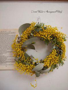 ミモザ&ユーカリのリース - ドライフラワーリース&アレンジ | Dried Flower Arrangement ''Peony'' ピオニー