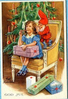 X6937   Swedish Miniature postcard,  Curt Nystrom picclick.com Swedish Christmas, Christmas Past, Merry Christmas And Happy New Year, Scandinavian Christmas, Christmas Cards, Christmas Postcards, Xmas, Vintage Christmas Images, Christmas Pictures