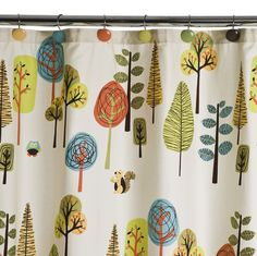 This is our new guest bath shower curtain.  From Target:  Tree house shower curtain.