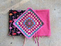 flamingo fabric lining granny square crochet bag, crochetbug, crochet squares, crochet purse, crocheted