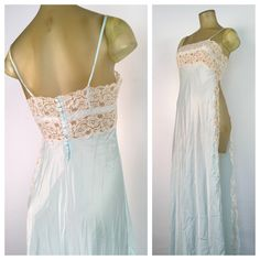 Long Blue Lingerie Sexy Lace Nightgown Full by RocketShopVintage