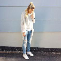 tifmys - H&M cardi and shirt, Daniel Wellington watch, Zara destroyed denim & Nike Roshe Run sneakers.