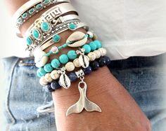 Hermosa cadena de plata y turquesa Howlita por handmadebyinali