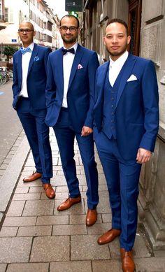 Nassim et ses témoins en costume sur mesure de L'Atelier 5 Strasbourg #wedding #costume #mariage #suits #bleu #témoins