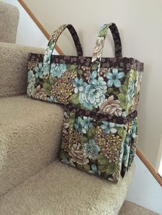 Rebecca's One-Trip Up the Stairs Basket - Pattern by Cozy Nest Designs Fabric Crafts, Sewing Crafts, Sewing Projects, Diy Projects, Sewing Hacks, Sewing Tutorials, Stair Basket, Fabric Basket Tutorial, Fabric Bowls