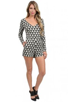 AGAIN Janet Romper in Black/White  available at #Loehmanns