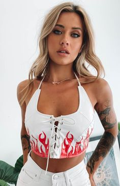 It's getting hot in here. must be 'cause you rocked up in the Magma Crop Red! Pair this spicy crop with a faux leather mini skirt, big boots and a mini backpack to really send hearts racing. Crop Top Outfits, Rave Outfits, Girl Outfits, Fashion Outfits, Coachella Outfit Ideas, Swag Fashion, Hipster Outfits, Party Outfits, Festival Mode