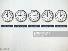 Stock Photo : International time zone clocks on wall