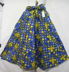 African Boho Maxi Skirt Women Ankara Wax Skirt Long Wide Flare Elastic Waist P10 #Handmade #ALine