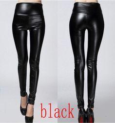 4228aac63e 2016 Autumn winter Women legging skinny PU leather pencil Leggings slim faux  Leather Pants female fashion thick fleece trousers