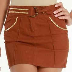Cute mini skirt with belt Mini skirt with gold sequins and belt! Super cute. Never worn, still new with tags. :) Pudding Jeans Skirts Mini