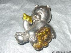 DANECRAFT SILVER TONE ENAMEL TEDDY BEAR EATING HONEY BROOCH