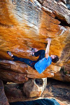 Graham on Sky, a Daniel Woods V14 in Rocklands, South Africa. Credit Cameron Maier
