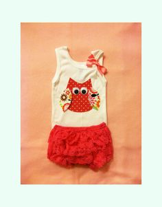 Baby Girl Clothes Owl Tank Top and Pink Lace Diaper by itsyglam, $27.00