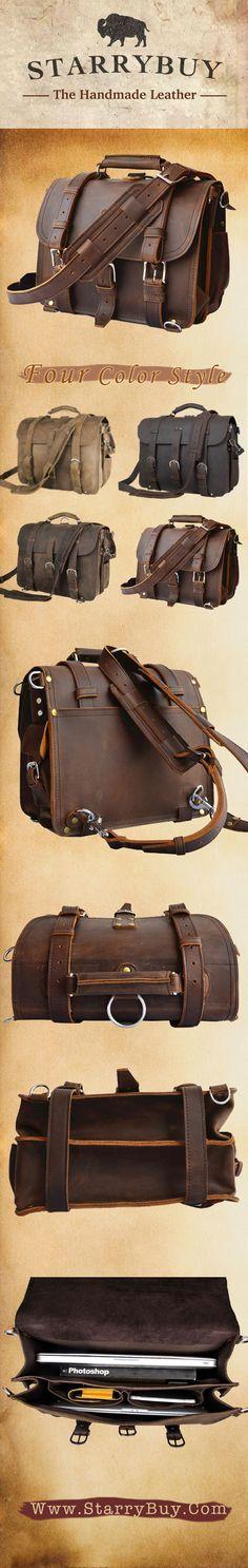 Vintage Genuine Cowhide Leather Messenger Briefcase Shoulder Bag Tote  @starrybuy