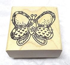 Stamps By Judith Butterfly rubber stamp wood mounted Vintage 90s uninked Spring