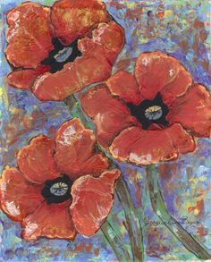 8x10 Mixed Media...Poppy Field by Jacqueline Brown