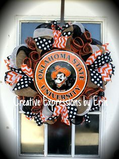 Check out this item in my Etsy shop https://www.etsy.com/listing/235115228/osu-wreath-oklahoma-state-university