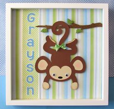 Personalized Monkey Shadow Box made with die cuts.  So cute for Monkey or Jungle Themed nursery.