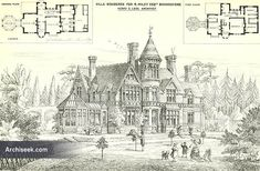 "1874 – Villa Residence, Boundstone, Surrey Architect: H. Legg From The Building News: ""The view shown in our illustration represents the garden front of a villa about to be erected within a few mi Vintage House Plans, European House Plans, Old Mansions, Mansions Homes, Victorian Farmhouse, Victorian Homes, Dream House Plans, House Floor Plans, The View Show"