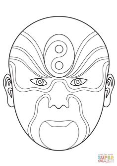 Chinese Opera Mask 2 coloring page | Free Printable Coloring Pages