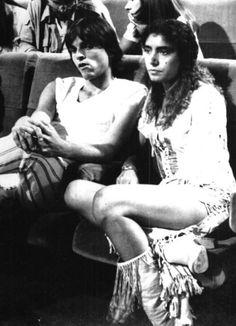 """Loredana Bertè e Miguel Bosè durante la registrazione della seconda puntata della trasmissione """" Una Valigia Tutta Blu """", 1979 ."""