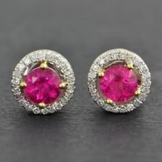 Pink+Tourmaline+Diamond+Halo+Stud+Earrings++$1,199.00