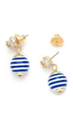 striped nautical drop earrings