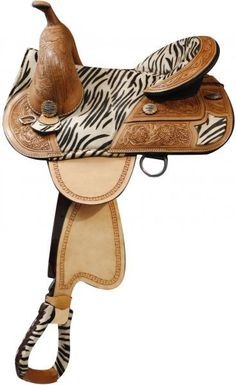 """16"""" Double T treeless saddle with hair on zebra print seat accented with silver zebra print conchos"""