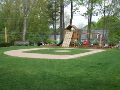 Why did i not have this backyard growing up?awesome backyard play area with baseball field! Backyard Sports, Backyard Baseball, Backyard For Kids, Backyard Ideas, Outdoor Fun, Outdoor Spaces, Outdoor Living, Fresco, Backyard Playground
